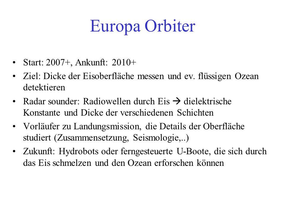 Europa Orbiter Start: 2007+, Ankunft: 2010+ Ziel: Dicke der Eisoberfläche messen und ev.