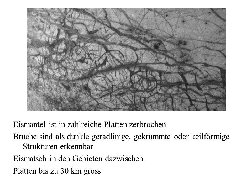 Eismantel ist in zahlreiche Platten zerbrochen Brüche sind als dunkle geradlinige, gekrümmte oder keilförmige Strukturen erkennbar Eismatsch in den Gebieten dazwischen Platten bis zu 30 km gross