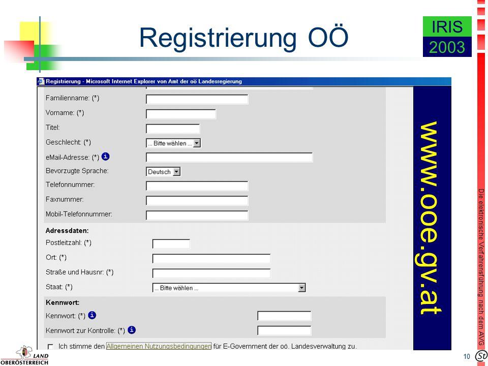 10 Die elektronische Verfahrensführung nach dem AVG IRIS 2003 Registrierung OÖ www.ooe.gv.at