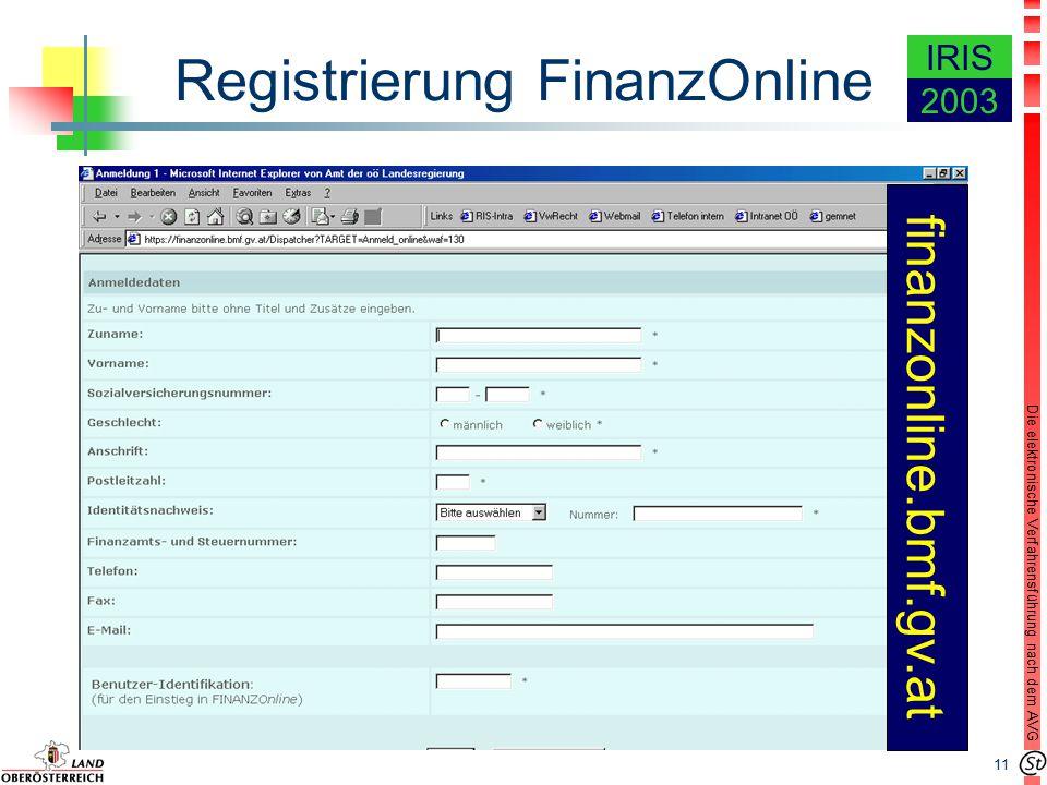 11 Die elektronische Verfahrensführung nach dem AVG IRIS 2003 Registrierung FinanzOnline finanzonline.bmf.gv.at