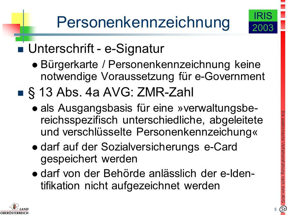 5 Die elektronische Verfahrensführung nach dem AVG IRIS 2003 Personenkennzeichnung n Unterschrift - e-Signatur l Bürgerkarte / Personenkennzeichnung keine notwendige Voraussetzung für e-Government n § 13 Abs.