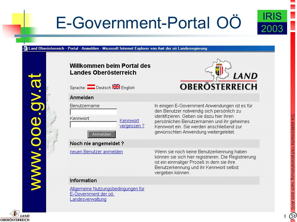 8 Die elektronische Verfahrensführung nach dem AVG IRIS 2003 E-Government-Portal OÖ www.ooe.gv.at