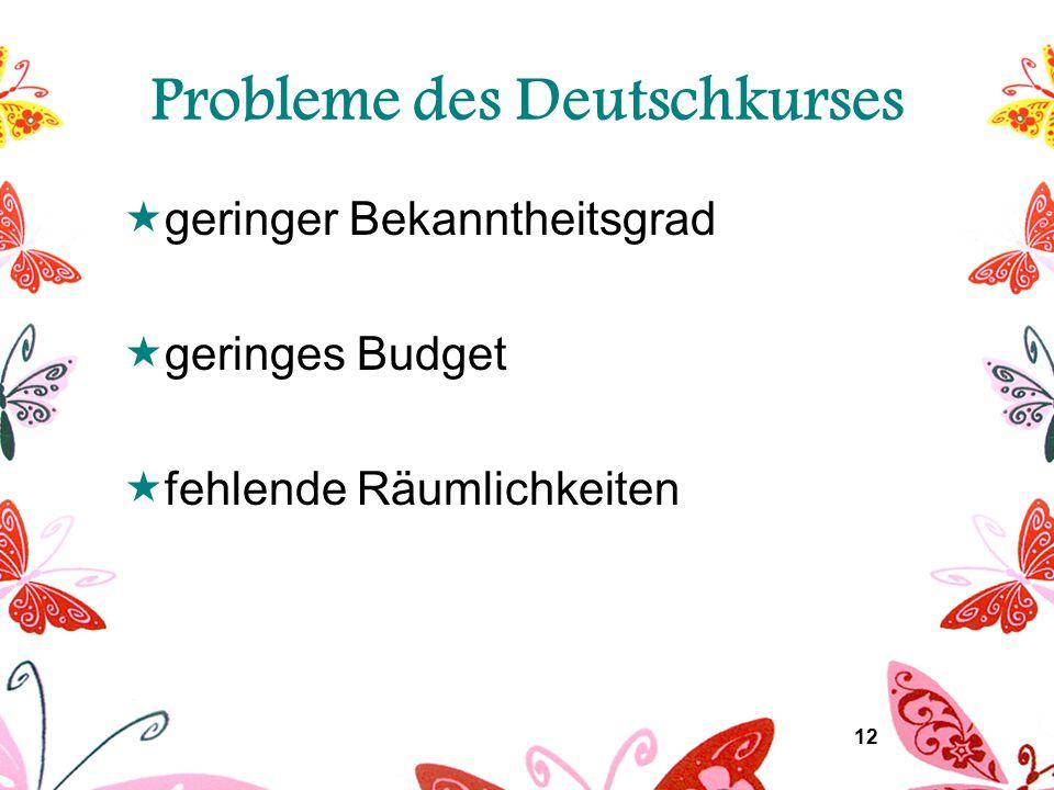 12 Probleme des Deutschkurses  geringer Bekanntheitsgrad  geringes Budget  fehlende Räumlichkeiten
