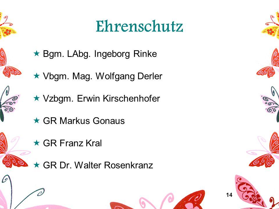 14 Ehrenschutz  Bgm. LAbg. Ingeborg Rinke  Vbgm. Mag. Wolfgang Derler  Vzbgm. Erwin Kirschenhofer  GR Markus Gonaus  GR Franz Kral  GR Dr. Walte