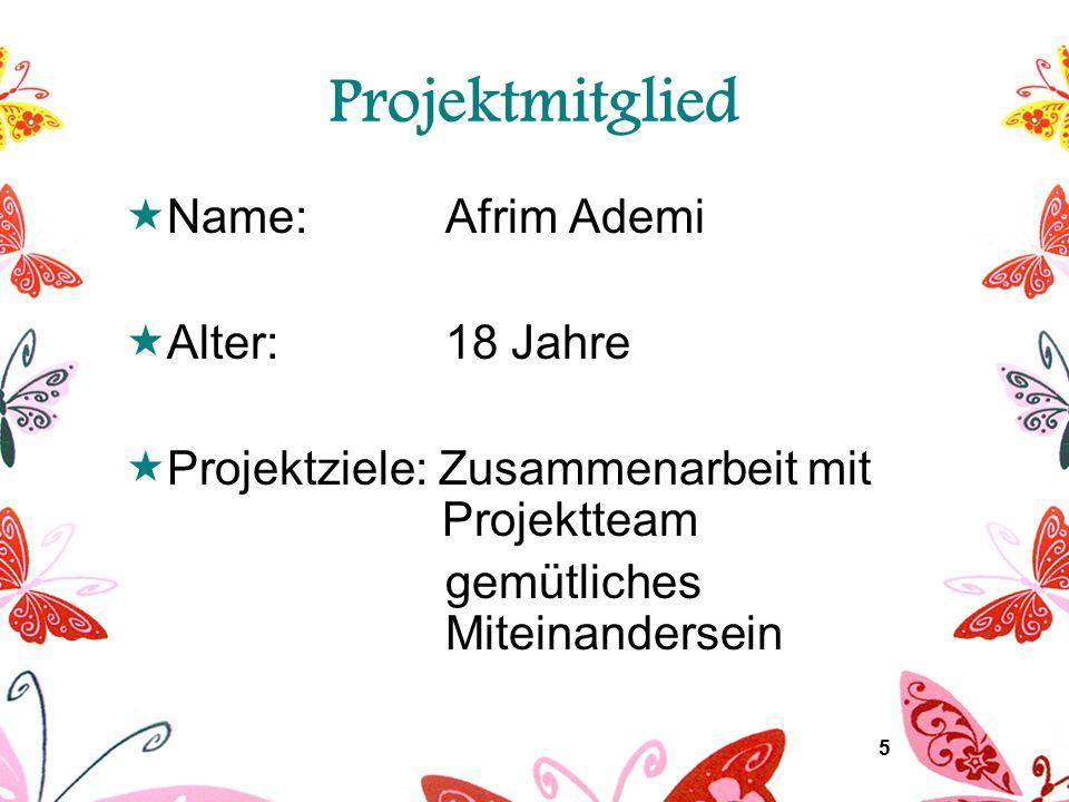 6 Projektmitglied  Name: Arabella Bajramovic  Alter:16 Jahre  Projektziele: gute Teamarbeit Vorstellung des Deutschkurses