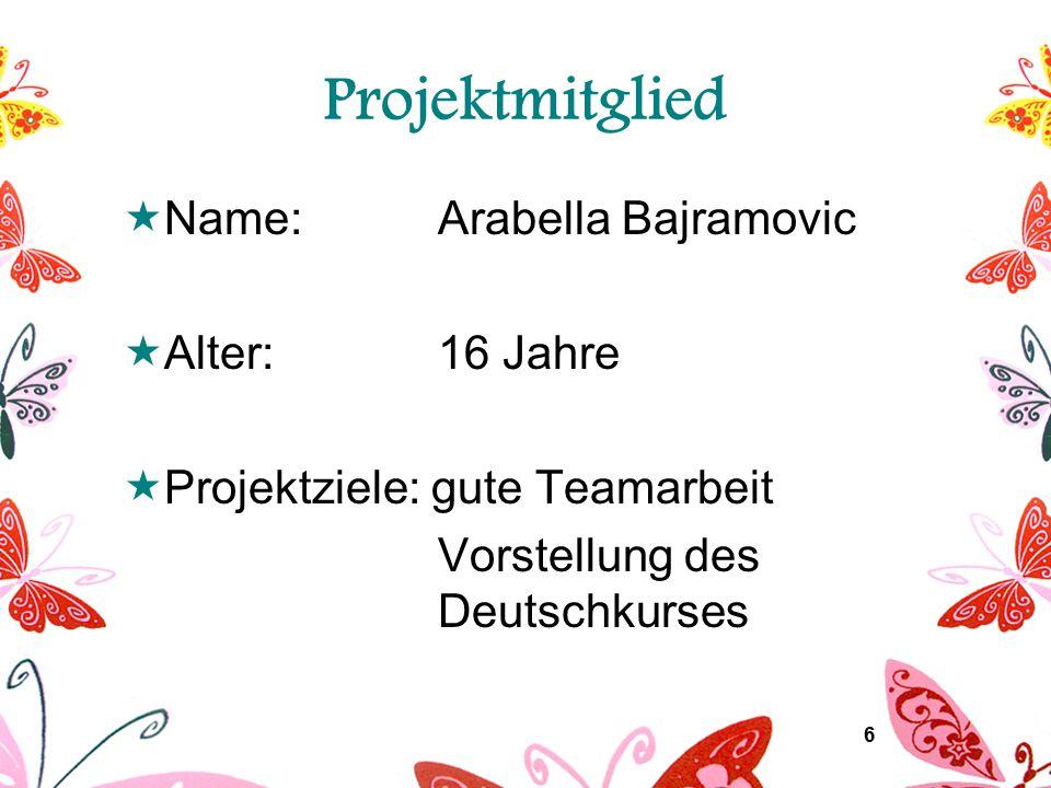 7 Projektmitglied  Name: Andreas Glaser  Alter:17 Jahre  Projektziele: Spenden für Deutschkurs gute Organisation des Festes
