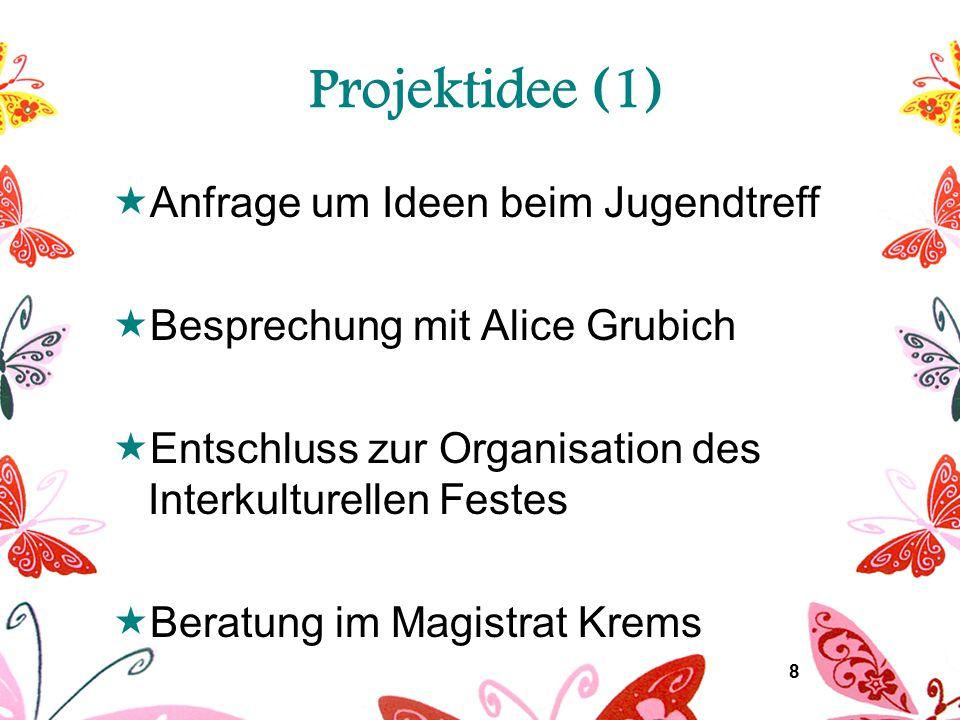8 Projektidee (1)  Anfrage um Ideen beim Jugendtreff  Besprechung mit Alice Grubich  Entschluss zur Organisation des Interkulturellen Festes  Bera