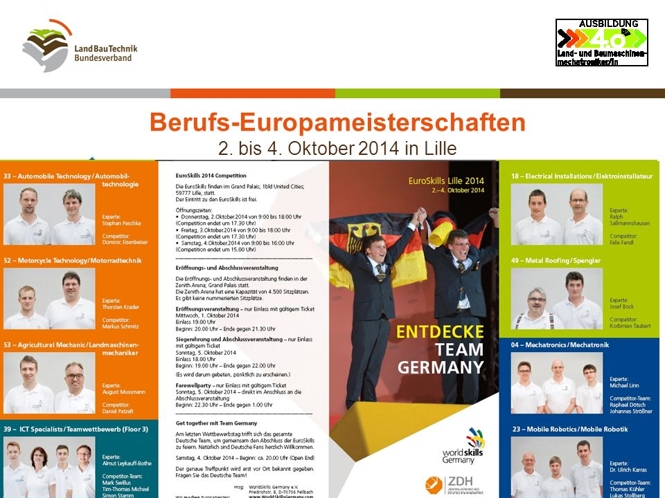 Berufs-Europameisterschaften 2. bis 4. Oktober 2014 in Lille Der offizielle Flyer 30.