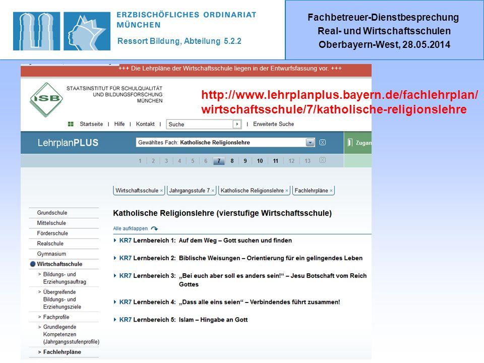Ressort Bildung, Abteilung 5.2.2 Fachbetreuer-Dienstbesprechung Real- und Wirtschaftsschulen Oberbayern-West, 28.05.2014 http://www.lehrplanplus.bayern.de/fachlehrplan/ wirtschaftsschule/7/katholische-religionslehre