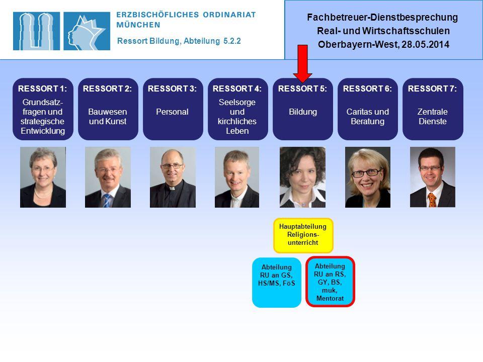 Ressort Bildung, Abteilung 5.2.2 Fachbetreuer-Dienstbesprechung Real- und Wirtschaftsschulen Oberbayern-West, 28.05.2014