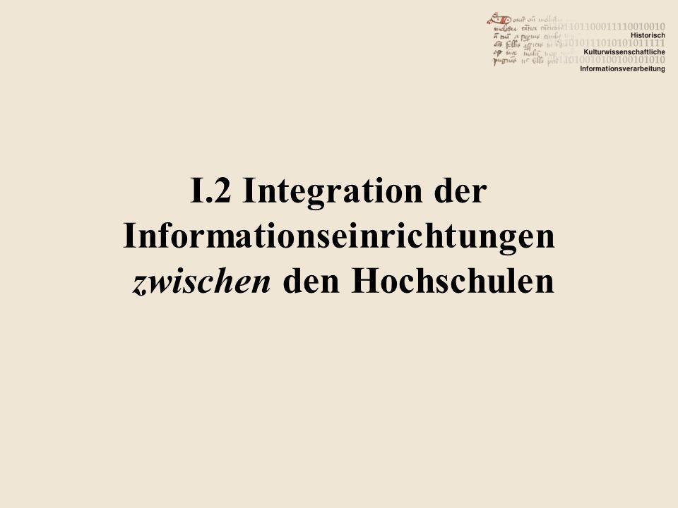 I.2 Integration der Informationseinrichtungen zwischen den Hochschulen