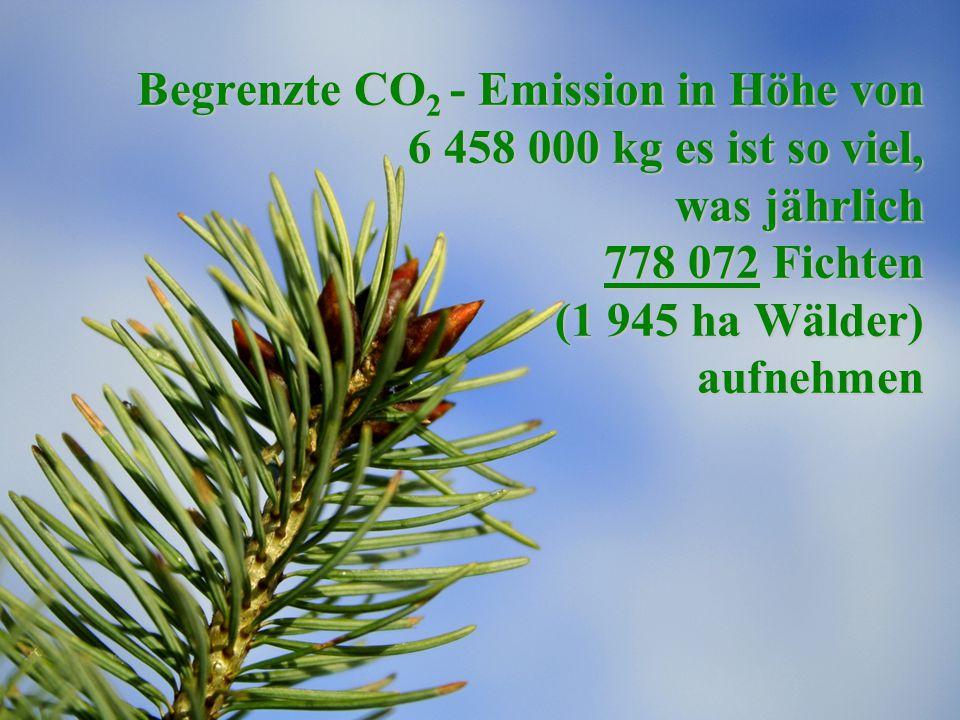 Begrenzte CO 2 - Emission in Höhe von 6 458 000 kg es ist so viel, was jährlich 778 072 Fichten (1 945 ha Wälder) aufnehmen