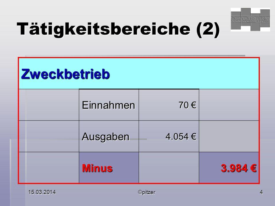 15.03.2014©pitzer4 Tätigkeitsbereiche (2) Zweckbetrieb Einnahmen 70 € Ausgaben 4.054 € Minus 3.984 €