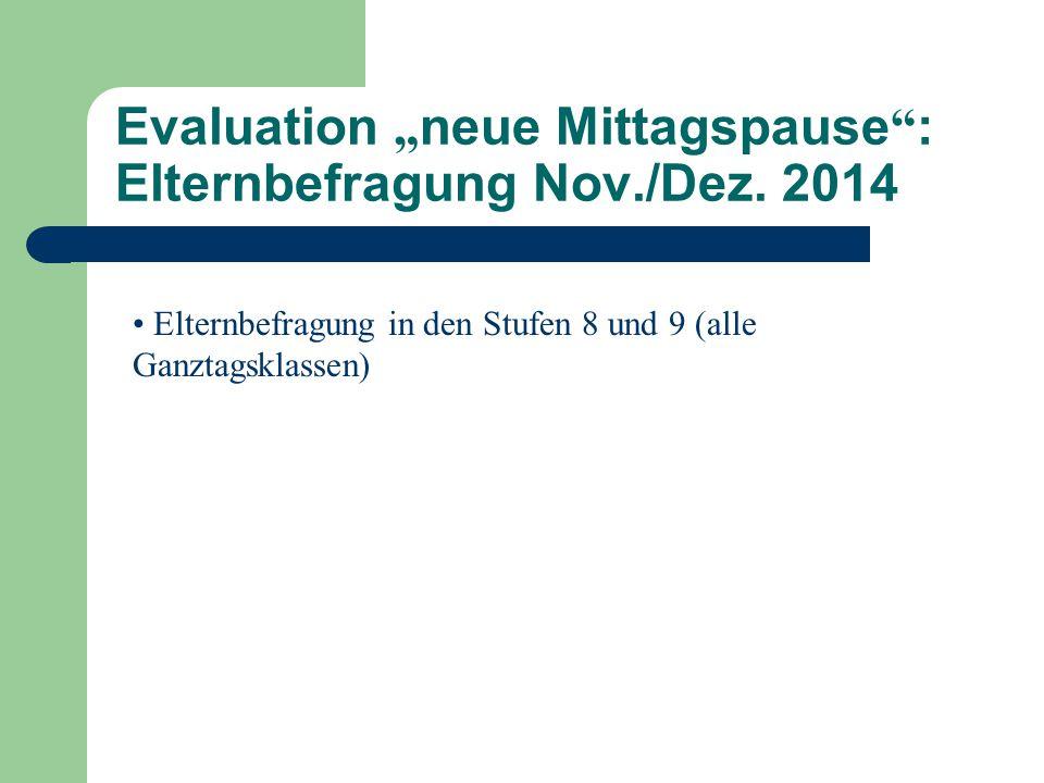 """Evaluation """" neue Mittagspause """" : Elternbefragung Nov./Dez. 2014 Elternbefragung in den Stufen 8 und 9 (alle Ganztagsklassen)"""