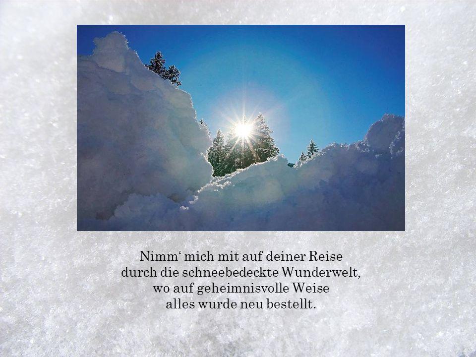 Die Sonne will nun untergehen hinter'm Gipfel, und ein letztes Mal lässt sie die gold'nen Strahlen sehen und erleuchtet nochmal Berg und Tal.