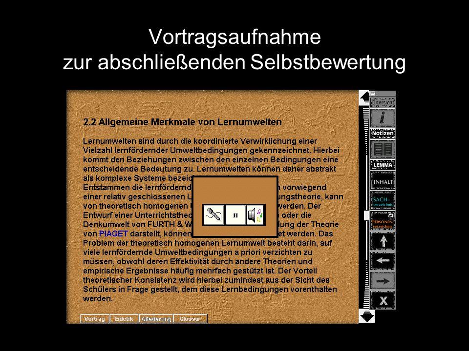 Ausgewählte Schlüsselbegriffe (vom Benutzer oder zufällig vom Programm) zur Rekonstruktion des Textabschnitts