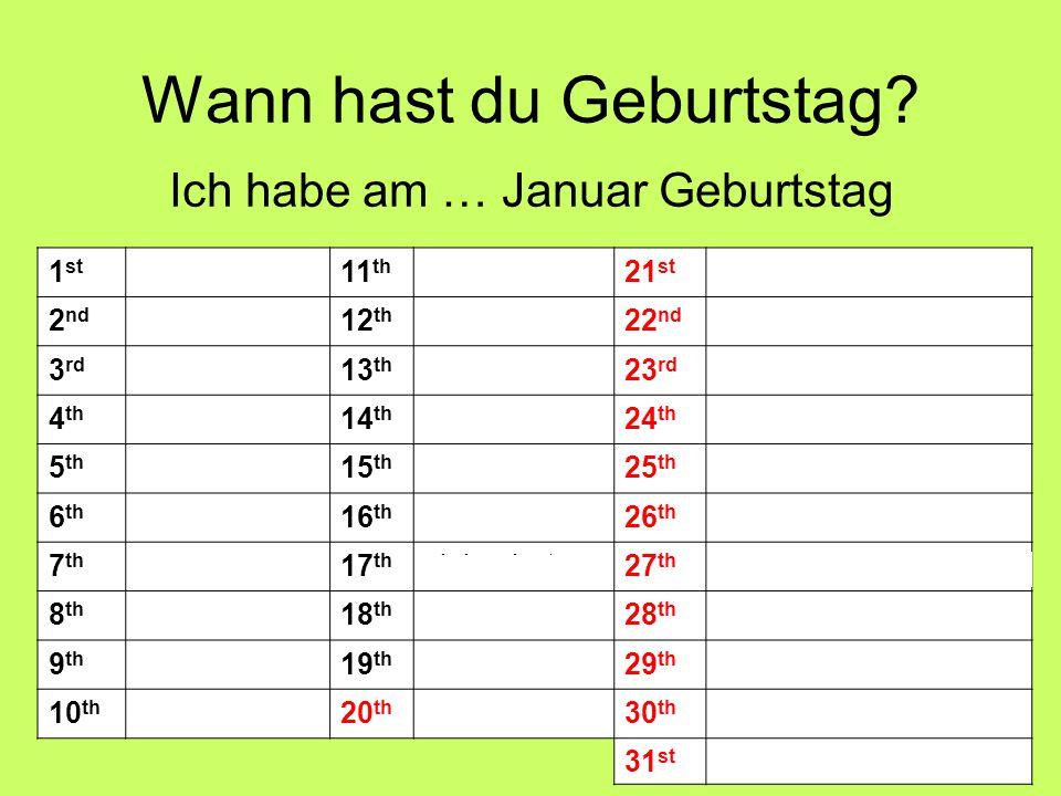 Wann hast du Geburtstag? Ich habe am … Januar Geburtstag 1 st ersten11 th elften21 st einundzwanzigsten 2 nd zweiten12 th zwölften22 nd zweiundzwanzig