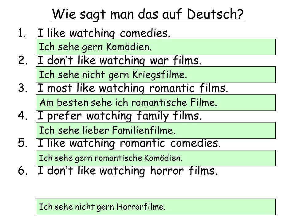 Richtig oder falsch.1.Ich sehe gern Actionfilme, weil sie interessant sind.