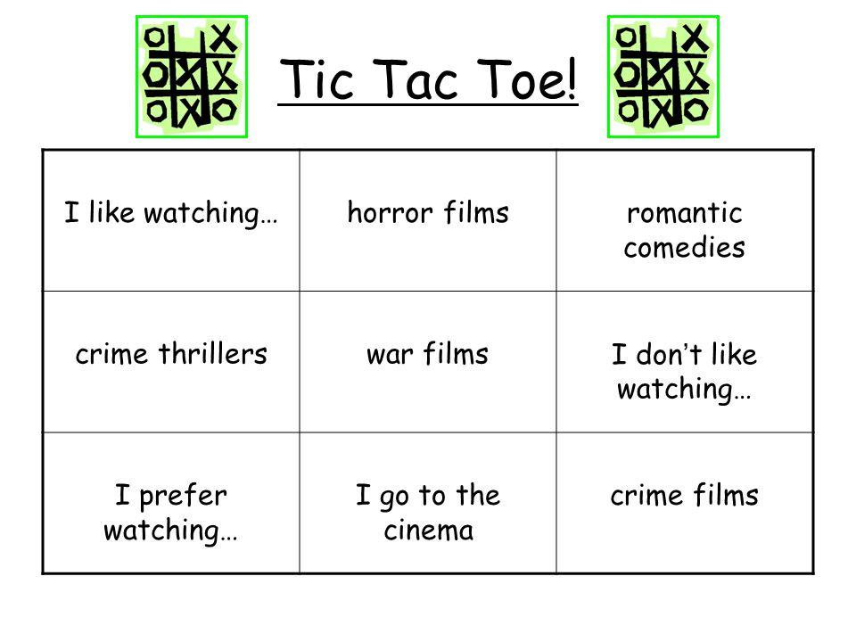 Round 1: Film Genres 1.War films 2.Action films 3.Romantic films 4.Comedies 5.Family films 6.Crime thrillers 7.Crime films 8.Horror films 9.Cartoons 10.Love films