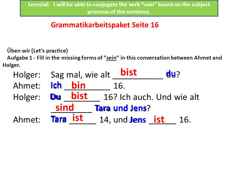Űben wir (Let's practice) Aufgabe 1 - Fill in the missing forms of sein in this conversation between Ahmet and Holger.