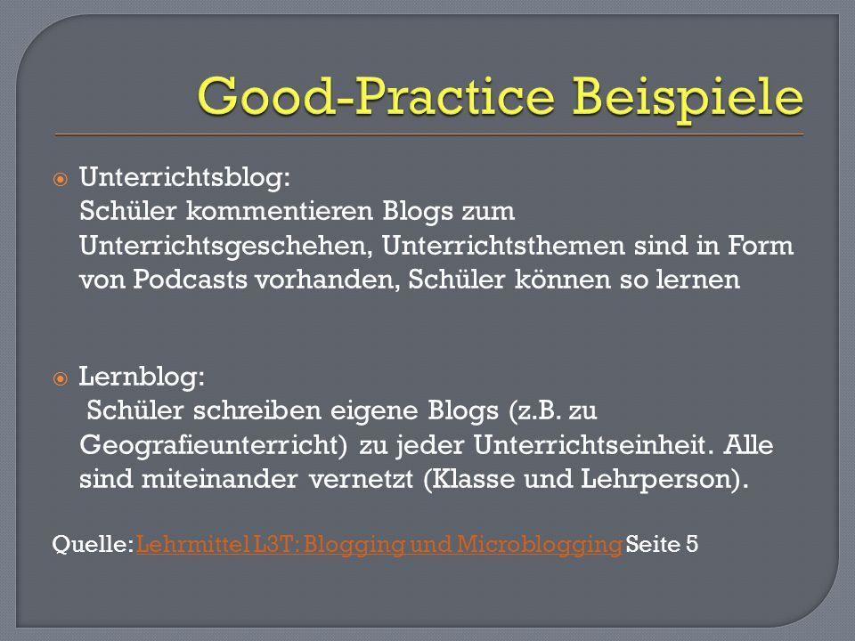  Unterrichtsblog: Schüler kommentieren Blogs zum Unterrichtsgeschehen, Unterrichtsthemen sind in Form von Podcasts vorhanden, Schüler können so lernen  Lernblog: Schüler schreiben eigene Blogs (z.B.