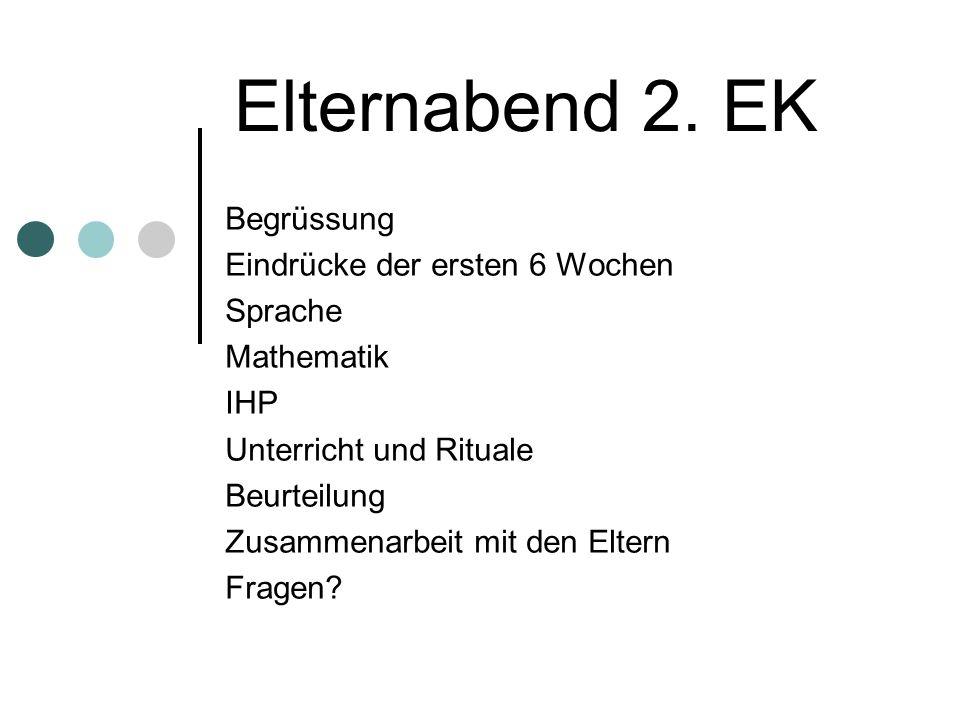 Elternabend 2. EK Begrüssung Eindrücke der ersten 6 Wochen Sprache Mathematik IHP Unterricht und Rituale Beurteilung Zusammenarbeit mit den Eltern Fra