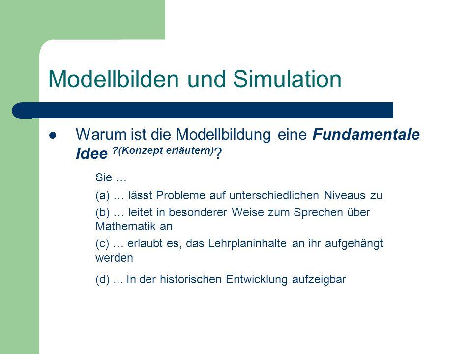 Warum ist die Modellbildung eine Fundamentale Idee ?(Konzept erläutern) ? Sie … (a) … lässt Probleme auf unterschiedlichen Niveaus zu (b) … leitet in