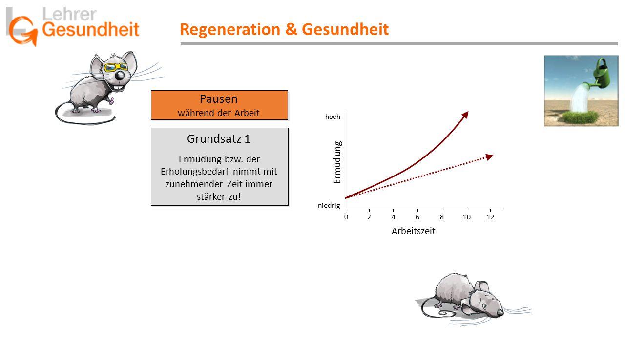 Regeneration & Gesundheit Pausen während der Arbeit Pausen während der Arbeit Ermüdung niedrig hoch 0 2 4 6 8 10 12 Arbeitszeit Grundsatz 1 Ermüdung bzw.