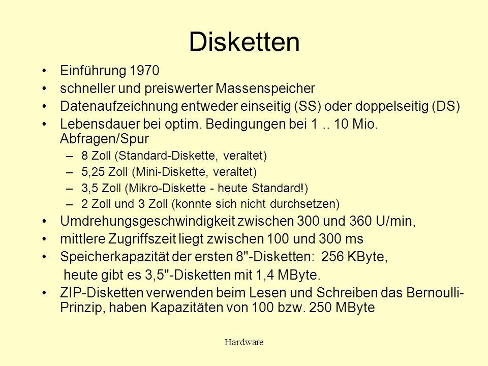 Hardware Disketten Einführung 1970 schneller und preiswerter Massenspeicher Datenaufzeichnung entweder einseitig (SS) oder doppelseitig (DS) Lebensdau
