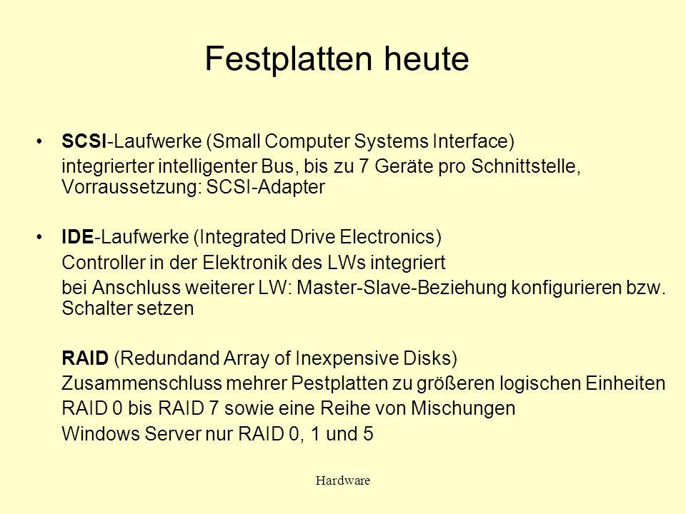 Hardware Festplatten heute SCSI-Laufwerke (Small Computer Systems Interface) integrierter intelligenter Bus, bis zu 7 Geräte pro Schnittstelle, Vorrau
