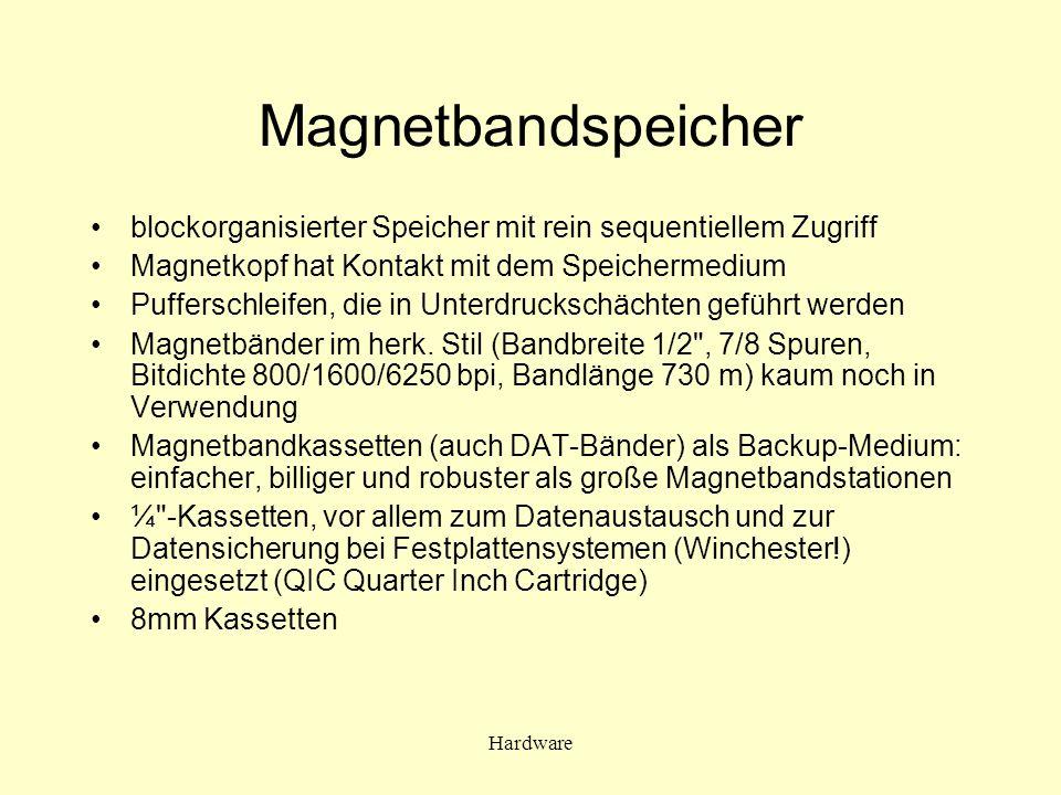 Hardware Magnetbandspeicher blockorganisierter Speicher mit rein sequentiellem Zugriff Magnetkopf hat Kontakt mit dem Speichermedium Pufferschleifen,
