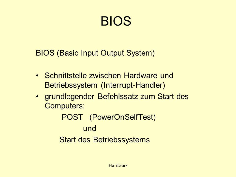 Hardware BIOS BIOS (Basic Input Output System) Schnittstelle zwischen Hardware und Betriebssystem (Interrupt-Handler) grundlegender Befehlssatz zum St