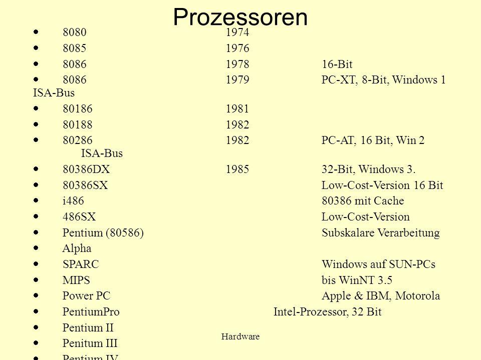 Hardware Pufferspeicher (Cache) spezieller sehr schneller Speicher CPU kann schneller darauf zugreifen als auf Arbeitsspeicher primärer Cache (Level 1) ist intern, in der CPU integriert sekundärer Cache (Level 2) extern sehr kurze Zugriffszeit relativ kleine Kapazität zwischen Arbeitsspeicher und CPU geschaltet enthält den jeweils aktuellen Teil des Arbeitsspeicher- Inhalts es wird immer ein ganzer Datenblock ab der gerade referierten Adresse in den Cache geladen (typisch 4 - 16 Worte).
