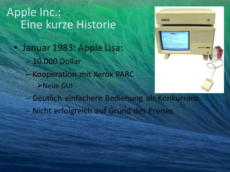 Januar 1983: Apple Lisa:  10.000 Dollar – Kooperation mit Xerox PARC  Neue GUI  Deutlich einfachere Bedienung als Konkurrenz  Nicht erfolgreich au