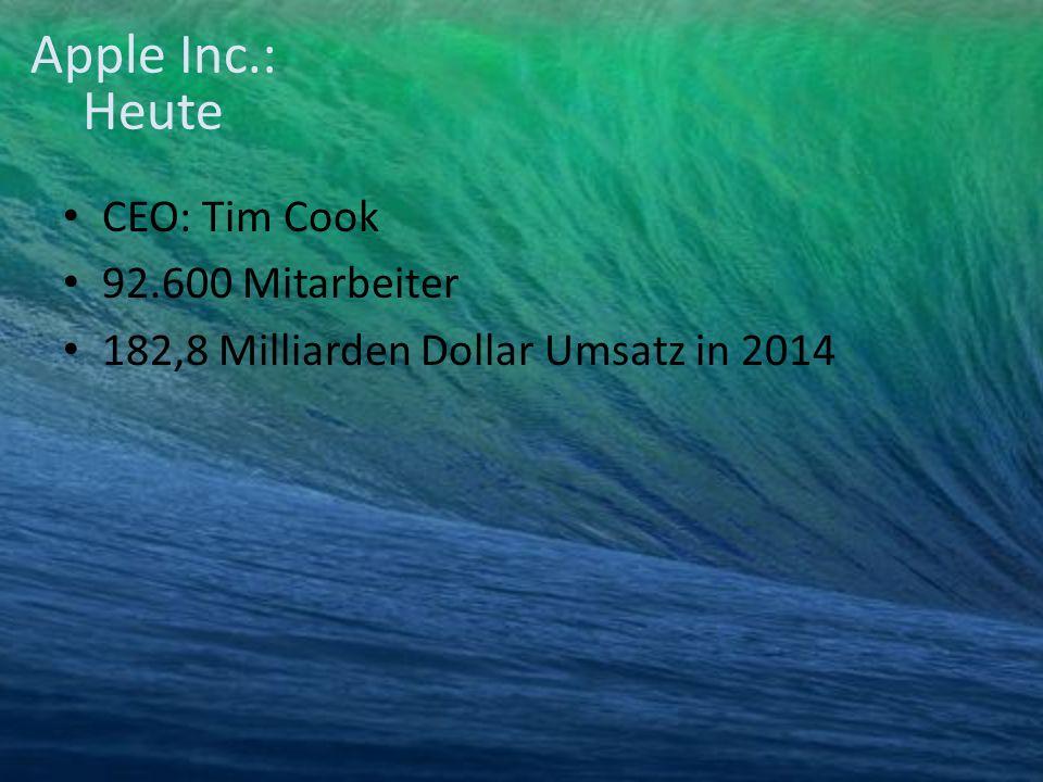 CEO: Tim Cook 92.600 Mitarbeiter 182,8 Milliarden Dollar Umsatz in 2014 Apple Inc.: Heute