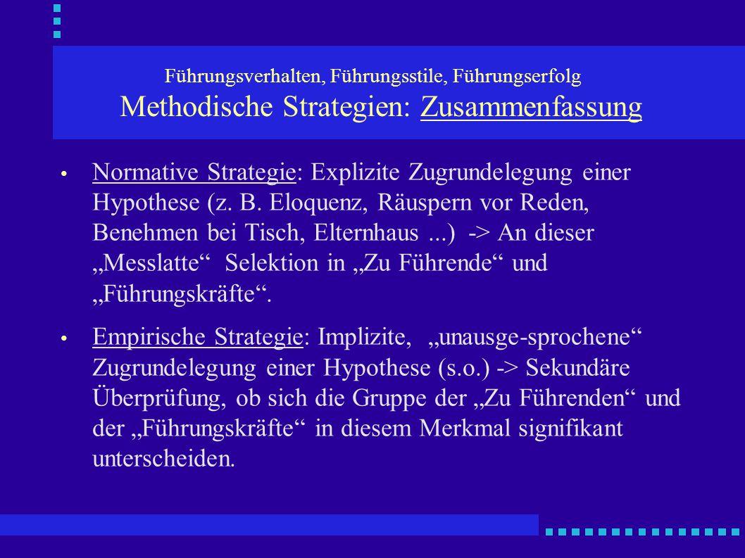 Führungsverhalten, Führungsstile, Führungserfolg Methodische Strategien: Zusammenfassung Normative Strategie: Explizite Zugrundelegung einer Hypothese