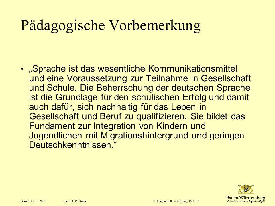"""Ministerium für Kultus, Jugend und Sport Layout: P. Braig Stand: 12.10.2008S. Hagenmüller-Gehring, Ref. 33 Pädagogische Vorbemerkung """"Sprache ist das"""