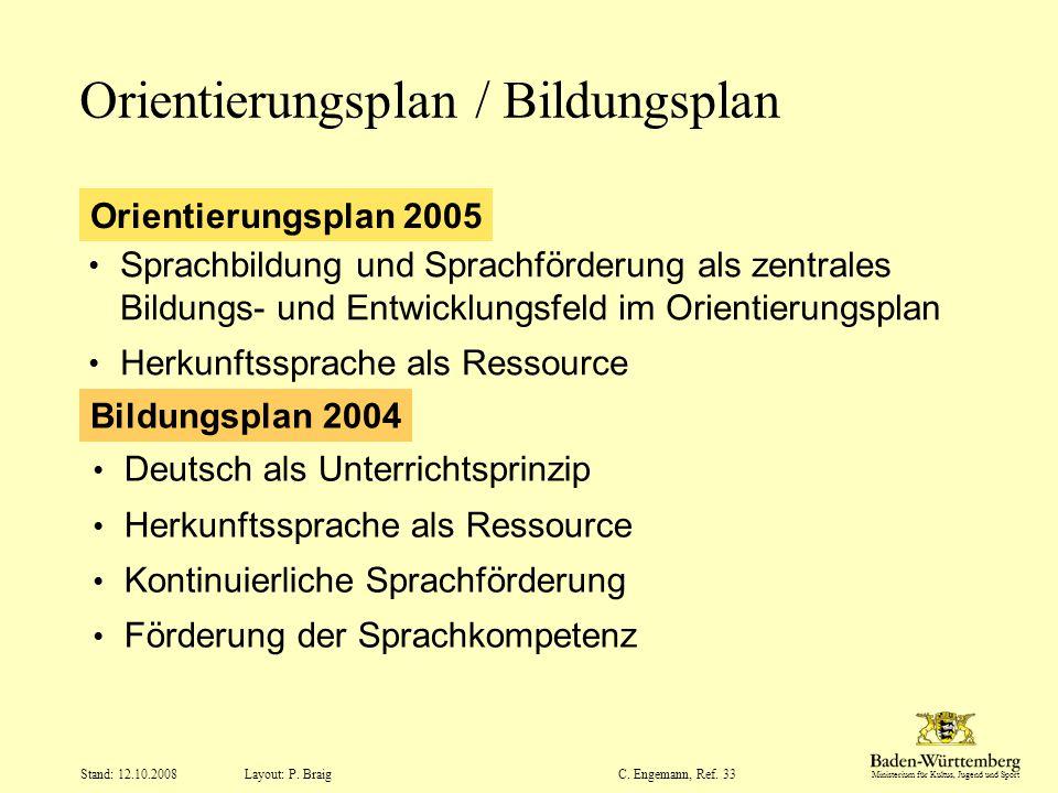 Ministerium für Kultus, Jugend und Sport Layout: P. Braig Stand: 12.10.2008C. Engemann, Ref. 33 Orientierungsplan / Bildungsplan Deutsch als Unterrich