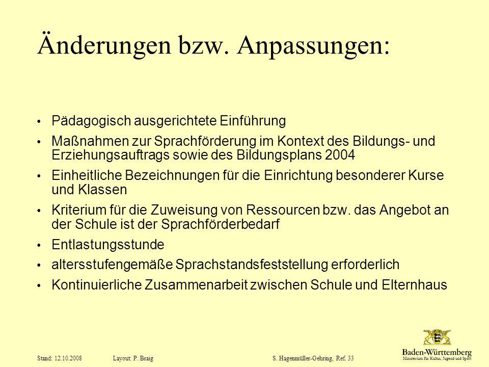 Ministerium für Kultus, Jugend und Sport Layout: P. Braig Stand: 12.10.2008S. Hagenmüller-Gehring, Ref. 33 Änderungen bzw. Anpassungen: Pädagogisch au