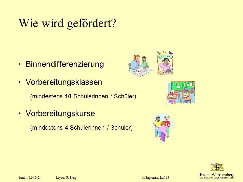 Ministerium für Kultus, Jugend und Sport Layout: P. Braig Stand: 12.10.2008C. Engemann, Ref. 33 Wie wird gefördert? Binnendifferenzierung Vorbereitung