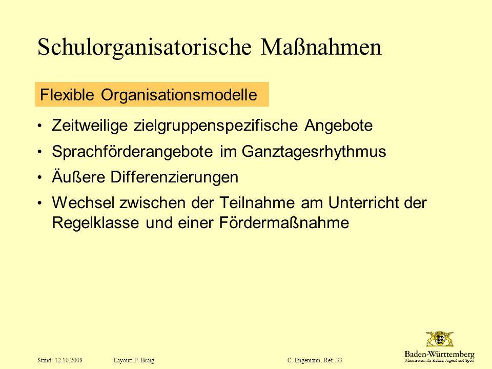 Ministerium für Kultus, Jugend und Sport Layout: P. Braig Stand: 12.10.2008C. Engemann, Ref. 33 Schulorganisatorische Maßnahmen Zeitweilige zielgruppe