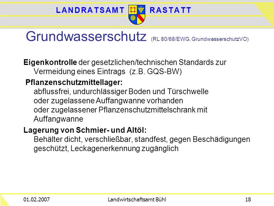 L A N D R A T S A M TL A N D R A T S A M TR A S T A T TR A S T A T T 01.02.2007Landwirtschaftsamt Bühl18 Grundwasserschutz (RL 80/68/EWG, Grundwassers