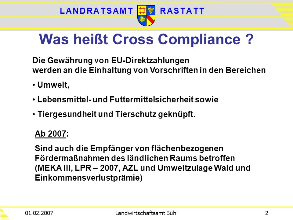 L A N D R A T S A M TL A N D R A T S A M TR A S T A T TR A S T A T T 01.02.2007Landwirtschaftsamt Bühl2 Was heißt Cross Compliance ? Die Gewährung von