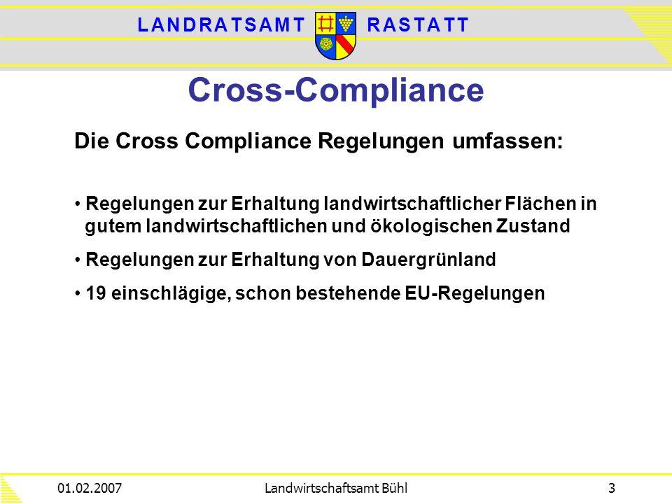 L A N D R A T S A M TL A N D R A T S A M TR A S T A T TR A S T A T T 01.02.2007Landwirtschaftsamt Bühl3 Cross-Compliance Die Cross Compliance Regelung