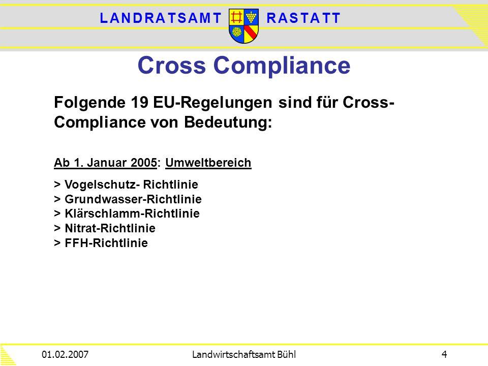 L A N D R A T S A M TL A N D R A T S A M TR A S T A T TR A S T A T T 01.02.2007Landwirtschaftsamt Bühl4 Cross Compliance Folgende 19 EU-Regelungen sin