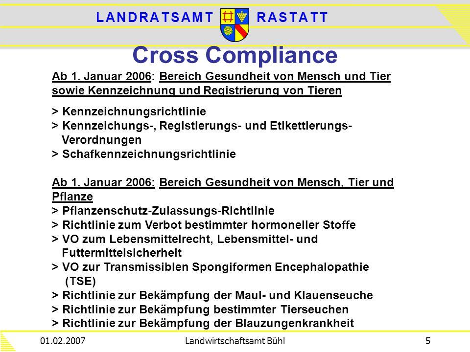 L A N D R A T S A M TL A N D R A T S A M TR A S T A T TR A S T A T T 01.02.2007Landwirtschaftsamt Bühl5 Cross Compliance Ab 1. Januar 2006: Bereich Ge