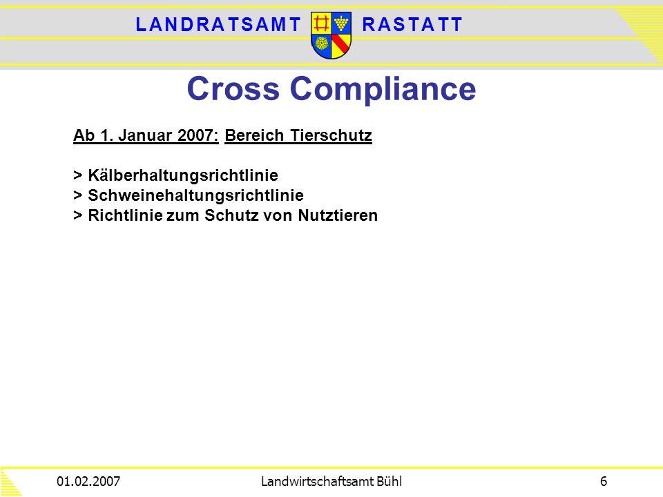 L A N D R A T S A M TL A N D R A T S A M TR A S T A T TR A S T A T T 01.02.2007Landwirtschaftsamt Bühl6 Cross Compliance Ab 1. Januar 2007: Bereich Ti
