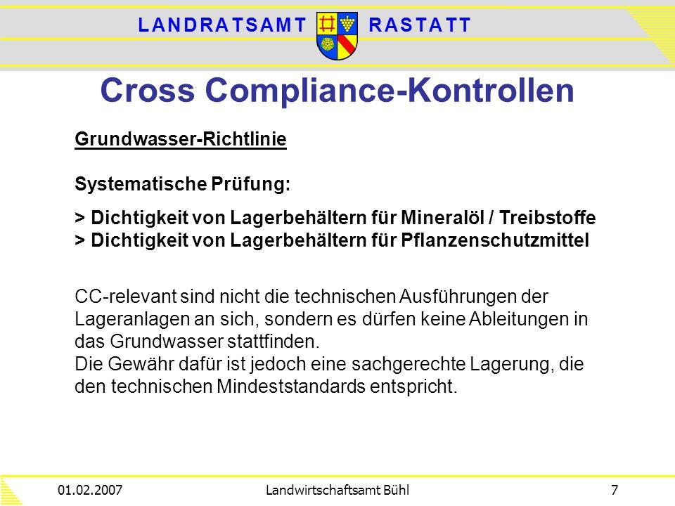 L A N D R A T S A M TL A N D R A T S A M TR A S T A T TR A S T A T T 01.02.2007Landwirtschaftsamt Bühl7 Cross Compliance-Kontrollen Grundwasser-Richtl