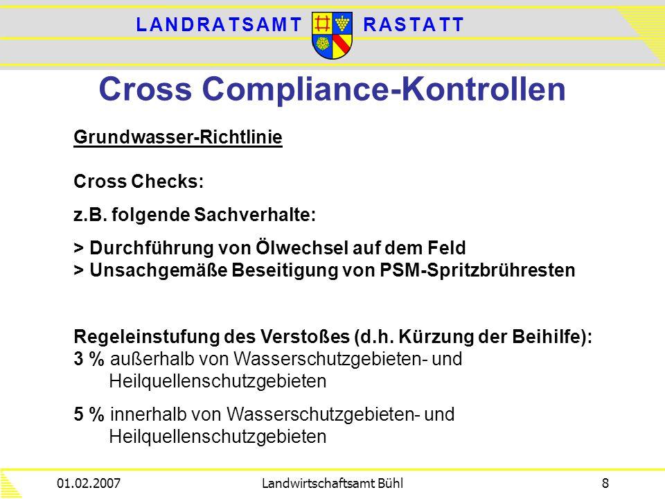 L A N D R A T S A M TL A N D R A T S A M TR A S T A T TR A S T A T T 01.02.2007Landwirtschaftsamt Bühl8 Cross Compliance-Kontrollen Grundwasser-Richtl