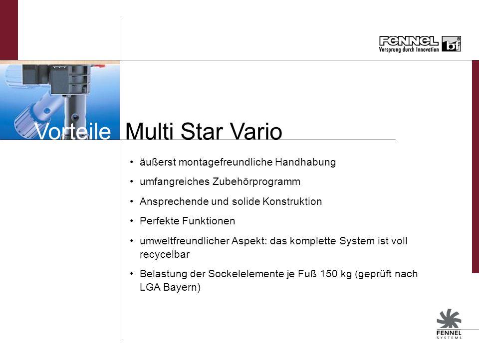 Vorteile Multi Star Vario äußerst montagefreundliche Handhabung umfangreiches Zubehörprogramm Ansprechende und solide Konstruktion Perfekte Funktionen umweltfreundlicher Aspekt: das komplette System ist voll recycelbar Belastung der Sockelelemente je Fuß 150 kg (geprüft nach LGA Bayern)